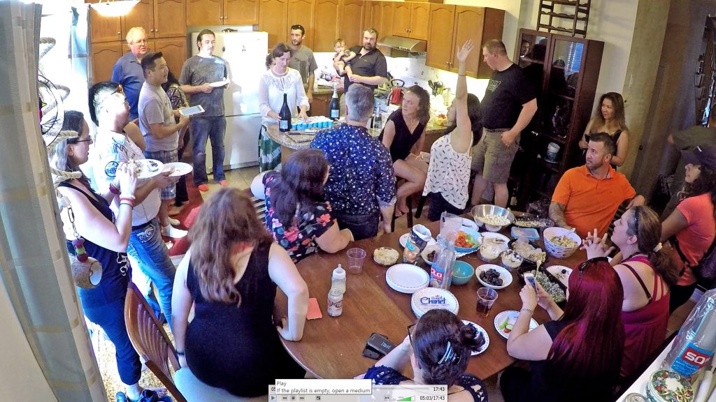 All good parties end up in the kitchen, right? We gave a little update on our situation and talked about the rules of our giveaway game.