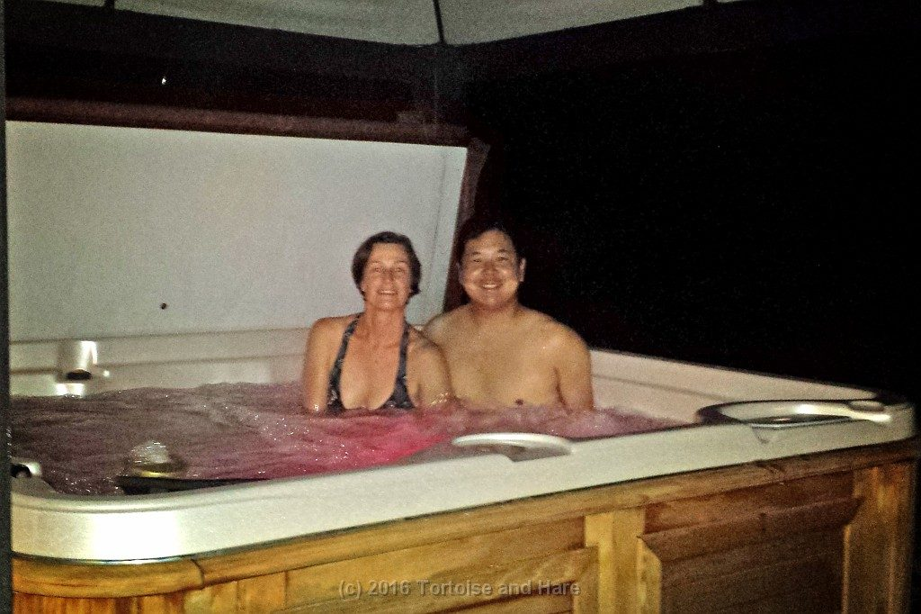 Enjoying Geoff & Viv's hospitality and soaking in their hot tub!