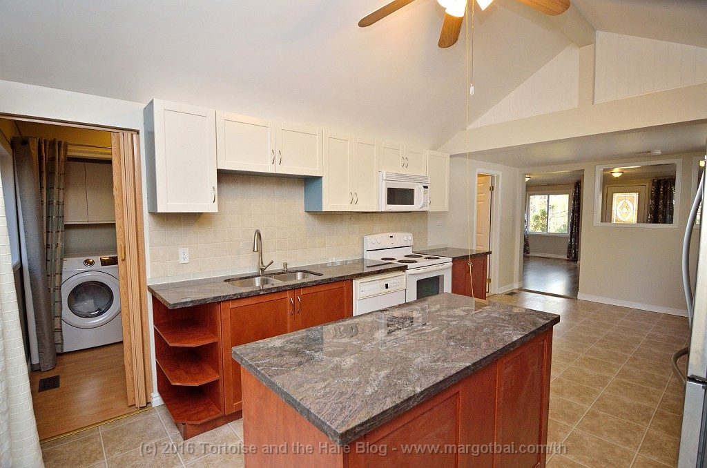We upgraded kitchen with new cabinets, and island, and marble countertops. We also refubished some of the existing cabinets ourselves