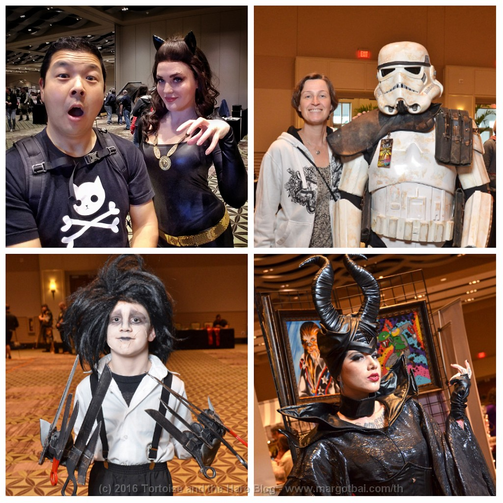 Many guests dressed up as their favourite characters. Clockwise from top-left: Cat Woman, Stormtrooper, Edward Scissorhands, and Maleficent.