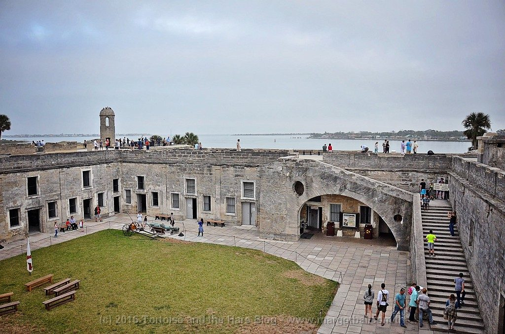 A view of the inside of Castillo San Marcos. People didn't live here permanently although it could provide temporary protection for the St. Augustine residence in case of a siege.