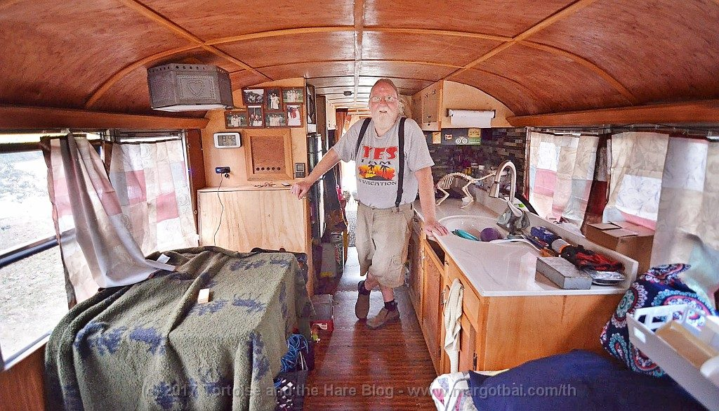 "Inside of the ""Less Stuff Bus"" with Steampunk Steve"
